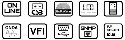 Iconos características SAI Online Lapara UPS LA-ON-SH-V0.9